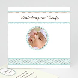 Einladungskarten Taufe Jungen  - Taufkarte 2 - 1