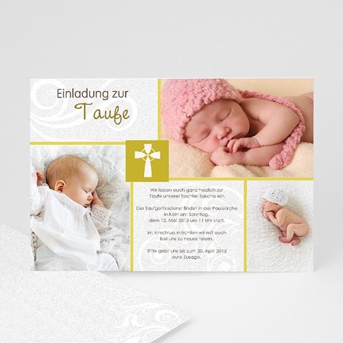 Einladungskarten Taufe Mädchen - Modern-Grün 17286