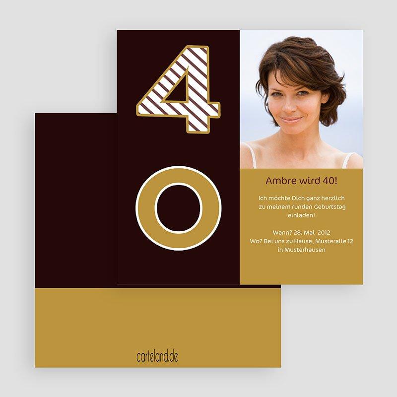geburtstag stilvolle einladungskarte zum 40 geburtstag 03205 kr0 rv ...