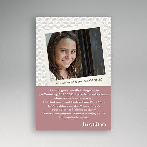 Einladungskarten Kommunion Mädchen - Flieder und Blätter 2082