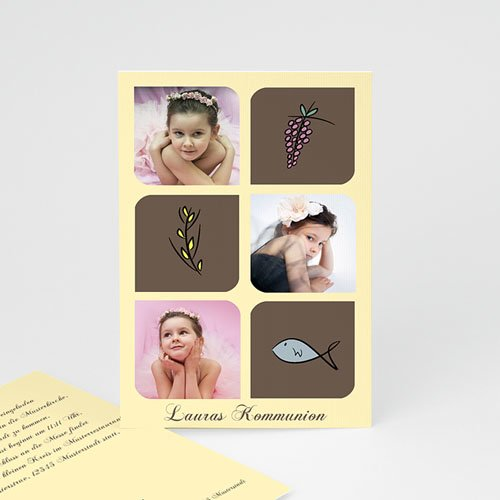 Einladungskarten Kommunion Mädchen - Symbole Erstkommunion 2086