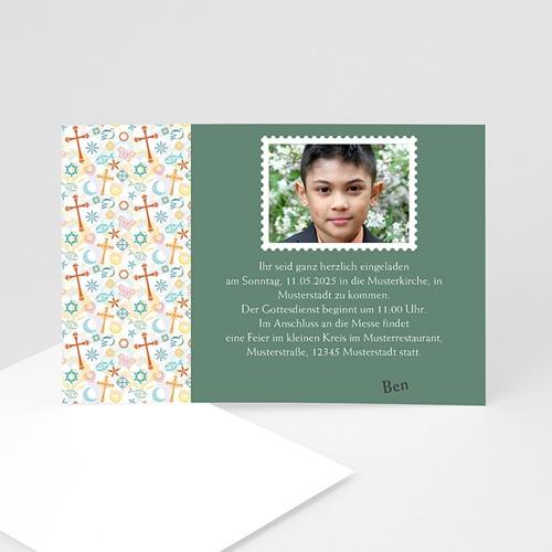 Einladungskarten Kommunion Jungen - Fliegende Symbole 2094