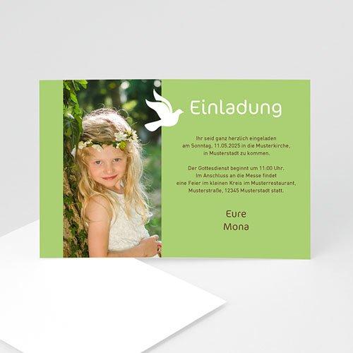 Einladungskarten Kommunion Mädchen - Weisse Taube 2098