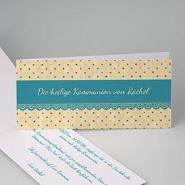 Einladungskarten Kommunion Mädchen - Gepunktet - 1