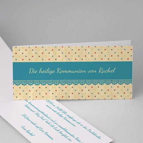 Einladungskarten Kommunion Mädchen - Gepunktet 21488