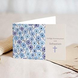 Einladungskarten Kommunion Jungen - Blaue Blumen - 1