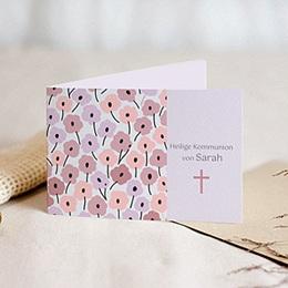 Einladungskarten Kommunion Mädchen - Rosablüten - 1