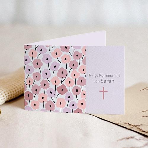 Einladungskarten Kommunion Mädchen - Rosablüten 21524