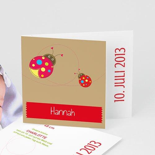 Geburtskarten für Mädchen - Marienkäfer - Rot  21555