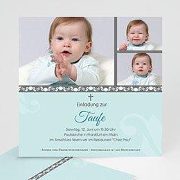 Einladungskarten Taufe Jungen  - Blaues Design - 1