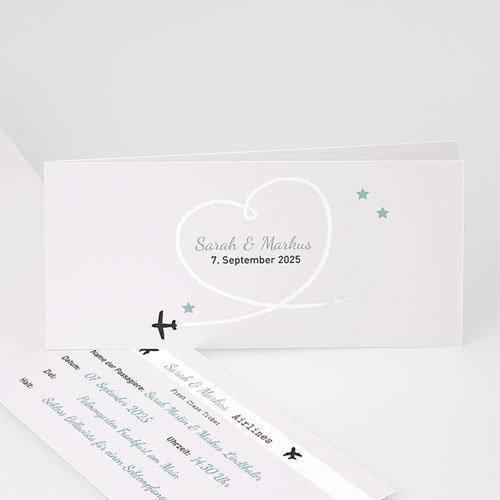 Hochzeitseinladungen modern - Flugticket  21987