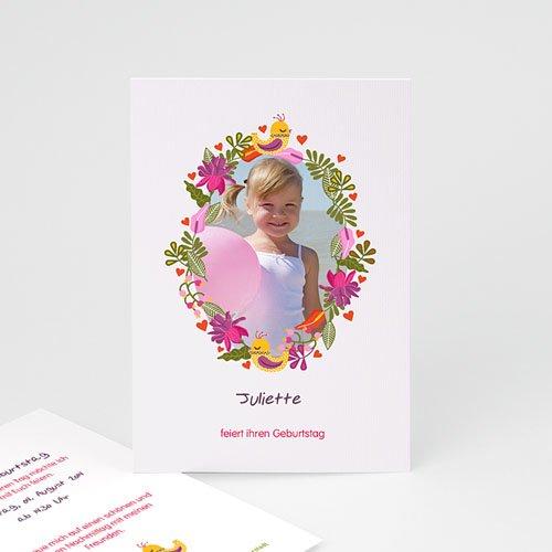 Geburtstagseinladungen Mädchen - Blumiges Porträt 22025