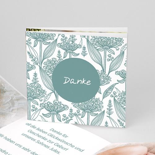 Dankeskarten Taufe Jungen - Floral Blau 22134