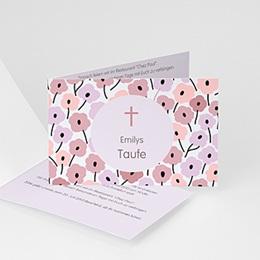 Einladungskarten Taufe Mädchen - Blumen und Kreuz Mädchen - 1