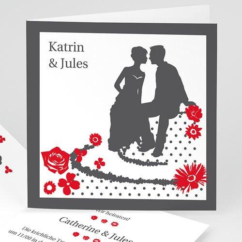Hochzeitseinladungen modern - Rot & Grau 22406