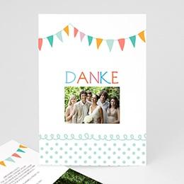 Danksagungskarten Hochzeit  - Fähnchen pastell - 1