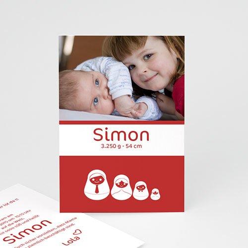 Geburtskarten selbst gestalten  - Rote Matrjoschka 2258
