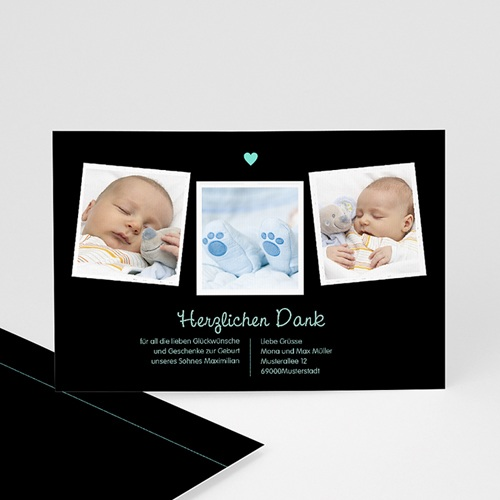 Dankeskarten Geburt Jungen - Herz Blau 23004