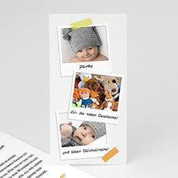 Dankeskarten Geburt Mädchen - Babykarte Polaroid - 1