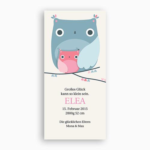 Geburtskarten für Mädchen - Eule 2592