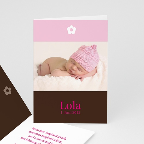 Geburtskarten für Mädchen - Geburtskarte Blumendesign 2850