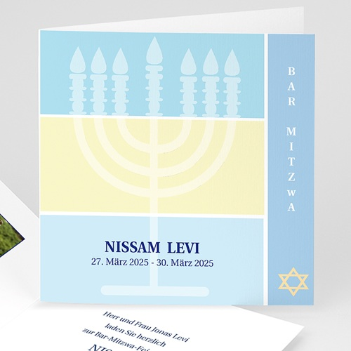 Bar Mitzwah Einladung - Bar Mitzva Menorah 3104