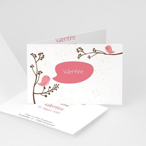 Geburtskarten für Mädchen - Piou piou - Rose 31363