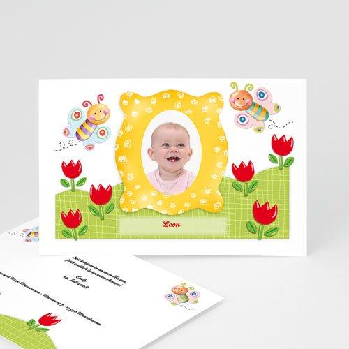 Geburtskarten für Mädchen - Geburtskarte Schmetterlingsrahmen 3140