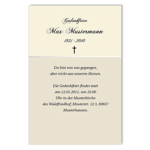 Trauer Danksagung christlich - Kartenmodell für eine Gedenkfeier 3156