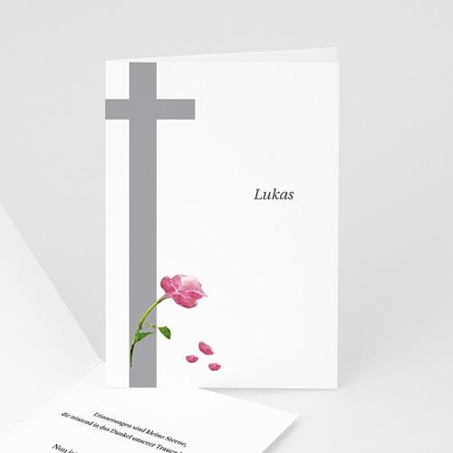 Trauer Danksagung christlich - Rosen vor dem Kreuz 3232