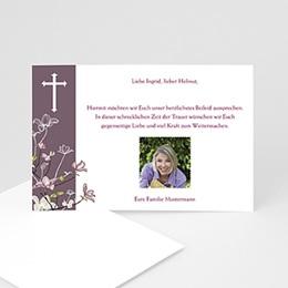 Trauer Danksagung christlich - Trauerkarte in veilchen-blau - 1