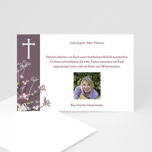 Trauer Danksagung christlich - Violett 3276