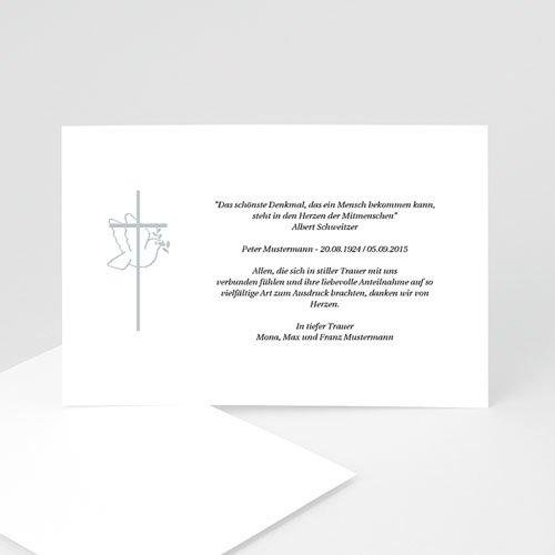 Trauer Danksagung christlich - Taube und grauer Rahmen 3280