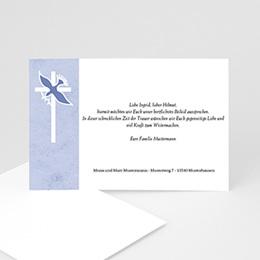 Trauer Danksagung christlich - Taube vor dem Kreuz - 1