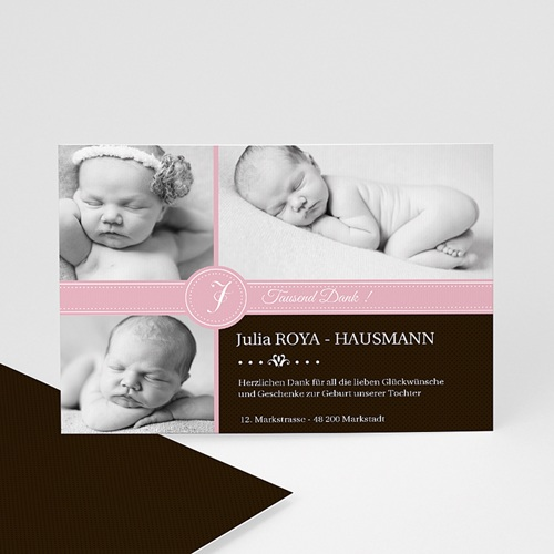 Dankeskarten Geburt Mädchen - Dankeskarte pink S/W 331