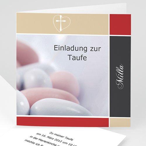 Einladungskarten Taufe Mädchen - Dragees - Tradition  3364