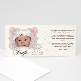 Einladungskarten Taufe Mädchen - Taufkarte Schäfchen - 1