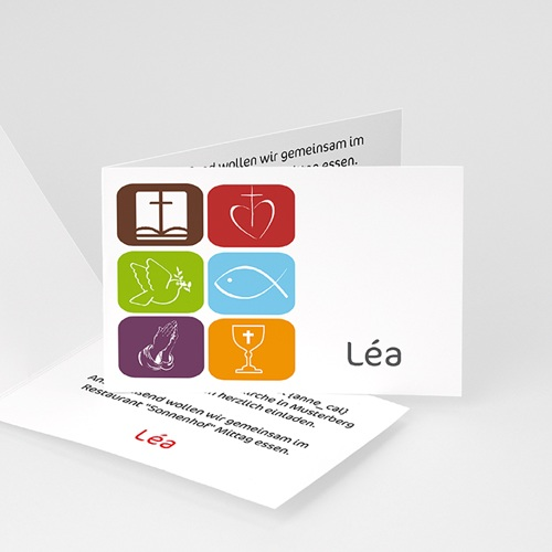 Einladungskarten Kommunion Mädchen - Farbenfroh 3444