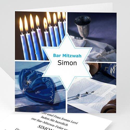 Bar Mitzwah Einladung - Bar Mitzvah Stern 3468