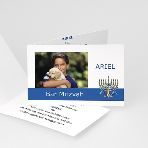 Bar Mitzwah Einladung - Bar-mitsva - blaues Band 3492