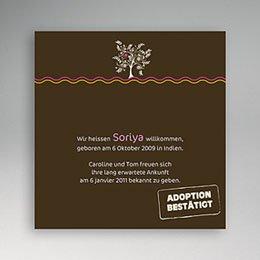 Adoptionskarten für Mädchen - Adoption brauner Hintergrund - 1