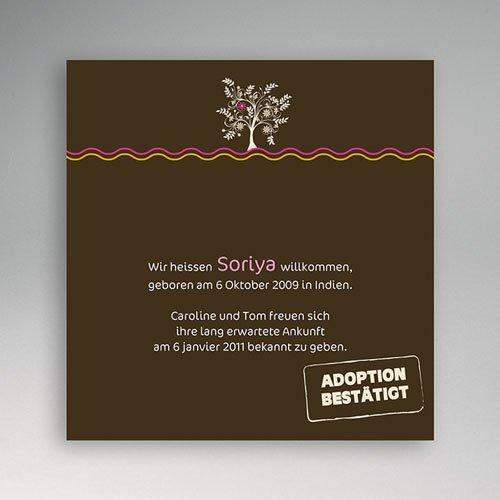 Adoptionskarten für Mädchen - Adoption brauner Hintergrund 3540