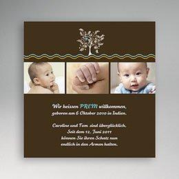 Adoptionskarten für Jungen - Adoption braun Baum - 1
