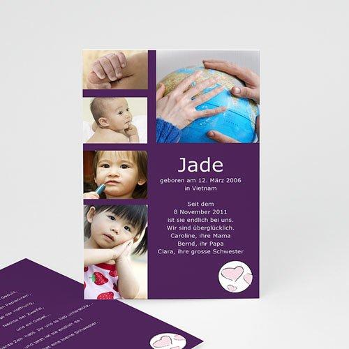 Adoptionskarten für Mädchen - Adoption violett 3548