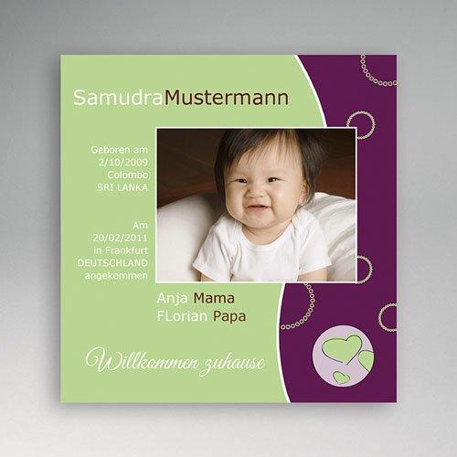Adoptionskarten für Mädchen - Adoption gün violett 3560