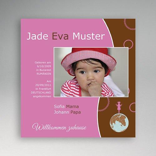 Adoptionskarten für Mädchen - Adoption braun rosa 3572