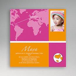 Adoptionskarten für Mädchen - Adoption pink orange - 1