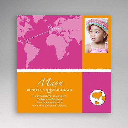 Adoptionskarten für Mädchen - Adoption pink orange 3584