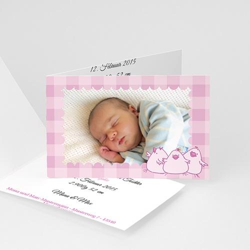 Geburtskarten für Mädchen - Karomuster 3688
