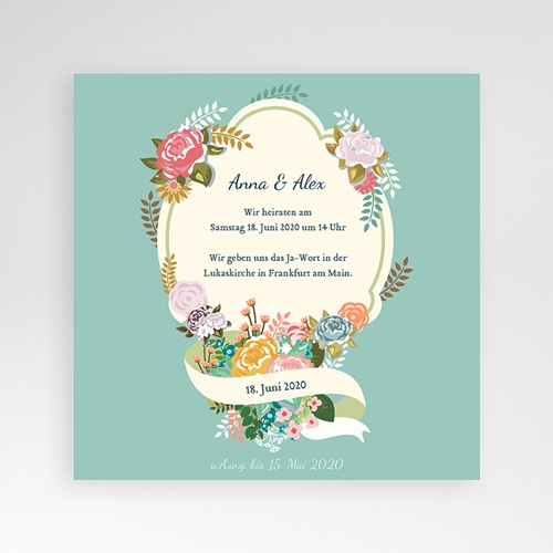 Hochzeitskarten Quadratisch - Vintage Romantik 37361